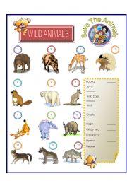 English Worksheets: Wild Animal - Match Part-4