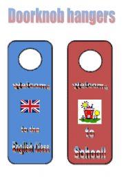 English Worksheets: Doorknob hangers