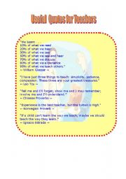 English Worksheets: Useful Quotes for Teachers (part II)  (two pages)