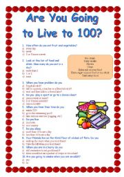 English Worksheet: Are you going to live to 100?