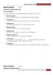 English Worksheet: Key Word Transformation Sentences