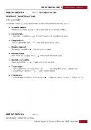 English Worksheet: Key Word Transformation Sentences - Teacher�s notes