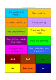 English Worksheets: Conjunctions as Joining Words Card Game