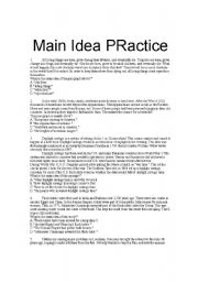 English Worksheet: Main Idea Practice