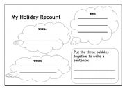English Worksheets: My holiday recount