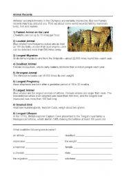 English Worksheets: Animal Records