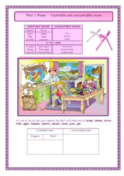 English Worksheets: That / those  -  Countable and uncountable nouns