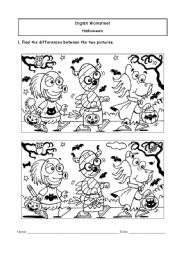 English Worksheets: Hallowe�en Differences