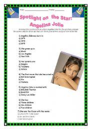 English Worksheets: Spotlight on the star: Angelina Jolie