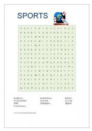 English teaching worksheets: Sports wordsearch