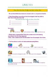 English Worksheet: Linkers (sequence of events)