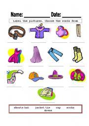 worksheet: label clothes