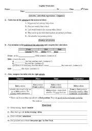 English Worksheets: Adverbs / Adverbial expressions / Conjuncts