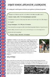 English Worksheet: Hyde Park Speaker�s Corner