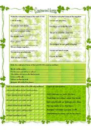 English Worksheet: CONTRACTED  FORMS