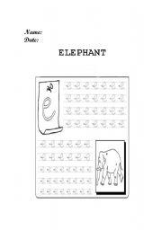English Worksheets: Elephant prewriting