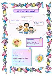 English Worksheets: Hi! What's your name?