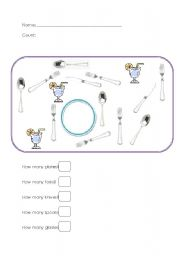 English Worksheet: Counting Cutlery
