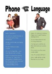 English Worksheets: Phone language
