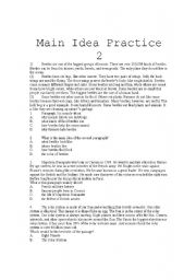 English Worksheet: Main Idea Practice 2