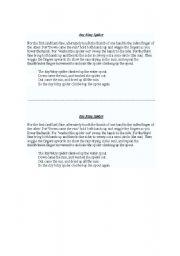 English Worksheet: ITSY BITSY SPIDER - LYRICS