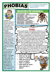 English Worksheet: WHAT PHOBIA DO YOU HAVE?