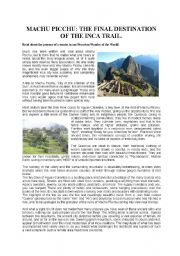 MACHU PICCHU, THE FINAL DESTINATION OF THE INCA TRAIL