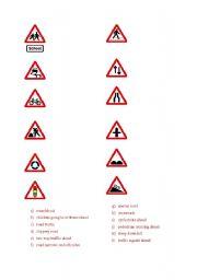 English Worksheet: chosen road signs