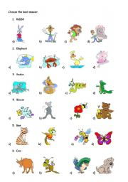 English Worksheet: ANIMAL TEST 1