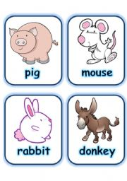 English Worksheets:  FLASHCARD SET 2- FARM ANIMALS - PART 3