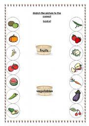 English worksheet: fruit and vegetable matching activity