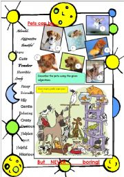 English Worksheet: Pets can be ... (adjectives)