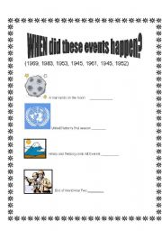 English Worksheets: When did these events happens?