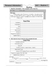 English Worksheet: Guided Writing - Fact file - Personal Information
