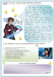 English Worksheets: Harry Potter - describing people (readng and writing skills)