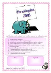 English Worksheets: For and against zoos