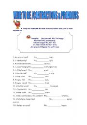 English Worksheets: VERB TO BE/CONTRACTIONS AND PRONOUNS