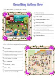 English Worksheets: Describing actions now