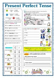 English Worksheet: PRESENT PERFECT TENSE
