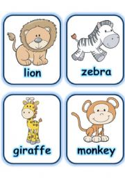 picture regarding Zoo Animal Flash Cards Free Printable referred to as FLASHCARD Preset 3- WILD Pets - Aspect 1 - ESL worksheet via