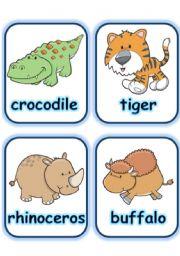 English Worksheet:  FLASHCARD SET 3- WILD ANIMALS - PART 2