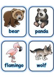 English Worksheet:  FLASHCARD SET 3- WILD ANIMALS - PART 4