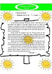 English Worksheet: Tongue twister story