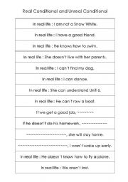 English Worksheet: Real and Unreal Conditional Sentences Practice
