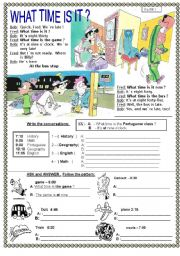 English Worksheet: WHAT TIME IS IT ?  PAGE 1