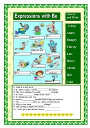 English Worksheets: Expressions with be