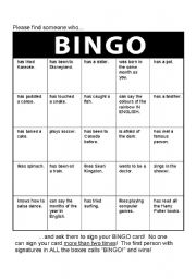 English Worksheet: Bingo Icebreaker
