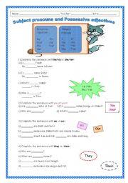 English Worksheet: Subject pronouns and possessive adjectives