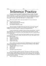 English Worksheet: Inference Practice
