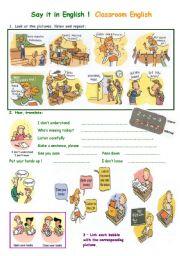 English Worksheet: Say it in English !